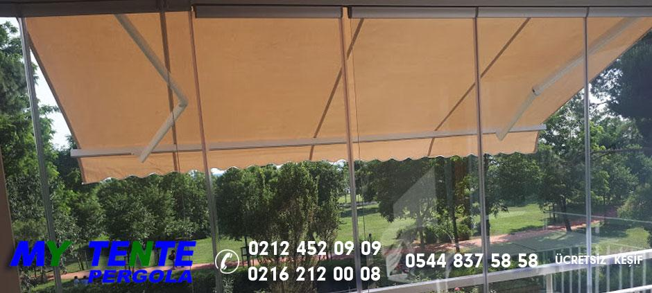 Mafsallı Tente Krem Balkon Katlanır Cam Önü  Örneği